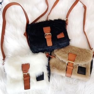 Faux shaggy fur crossbody bag